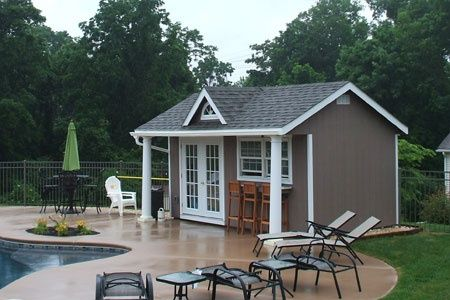 Prefab pool cabanas custom built storage sheds and for Modular pool house
