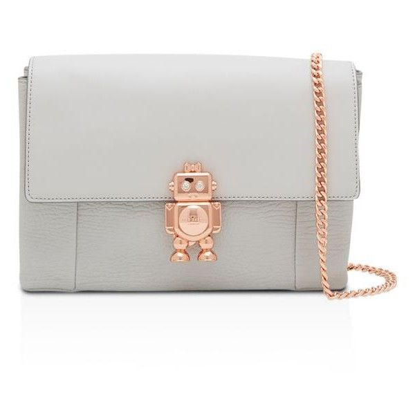 Ted Baker Jemms Robot Lock Leather Crossbody ($219) ❤ liked on Polyvore featuring bags, handbags, shoulder bags, cross-body handbag, white crossbody purse, crossbody purses, leather shoulder handbags and leather crossbody purse