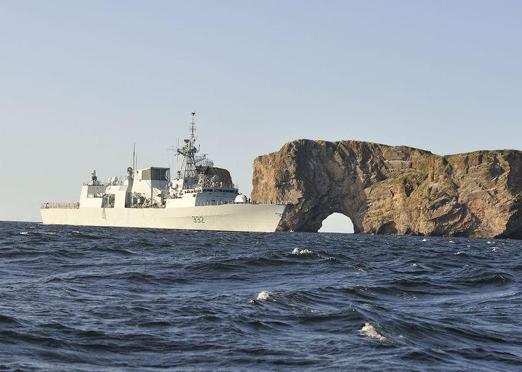 On 28 August, Ville de Québec passes by Rocher Percé on its way to Gaspé, the first stop on the 2009 Great Lakes Deployment.  Pte Dan Bard, Image Technician, FIS, Halifax.