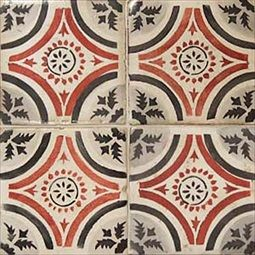 La Terre Red, Black and White Deco Ceramic Tiles. Square tiles in a Mediterranean style with a repeating pattern of circles and diamonds with interior detail.