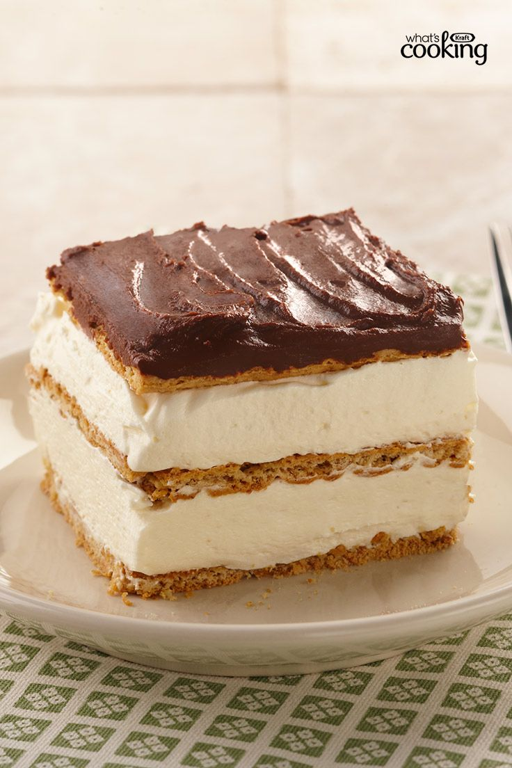 """Graham Cracker Eclair """"Cake"""" #recipe -- No bake, no problem. Just mix, layer, chill and then serve up a delectable dessert for a crowd! Tap or click photo for recipe."""