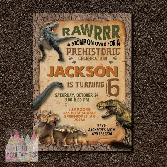 Dinosaur Birthday Invitation. Dinosaur por LittleMountainTop