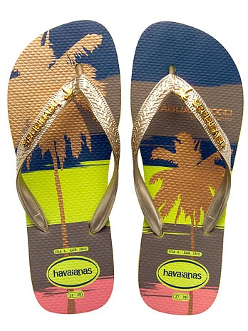 Havaianas - the most stylish flipflops on the planet.  The designs don't fade fast like cheaper versions do.