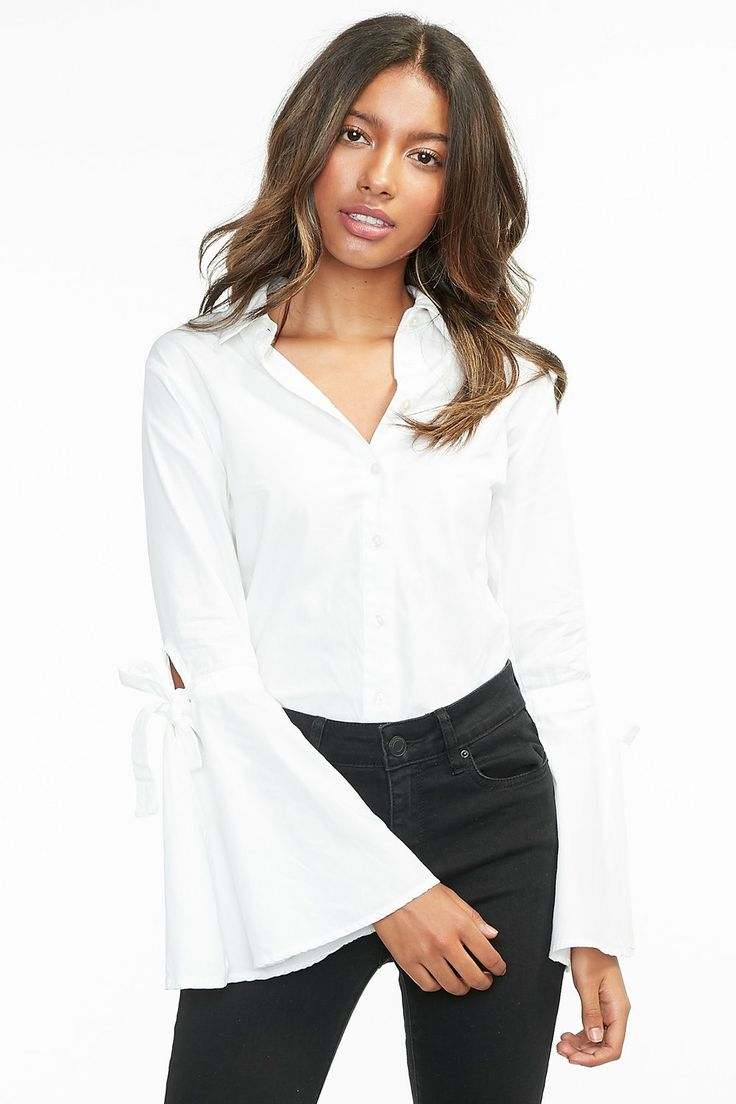 Knot Bell Sleeve Button-Up Blouse – Urban Planet