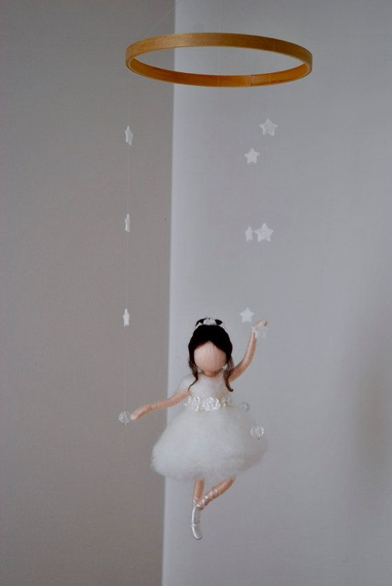 Waldorf inspired needle felted doll mobile: Ballerina by MagicWool