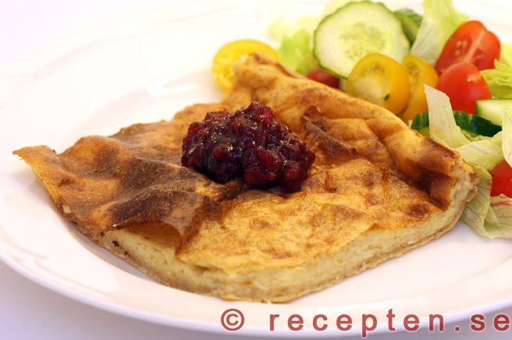Ugnspannkaka - Recept på ugnspannkaka. 4 portioner. Tid 30 min. Vispa mjöl, mjölk och ägg.