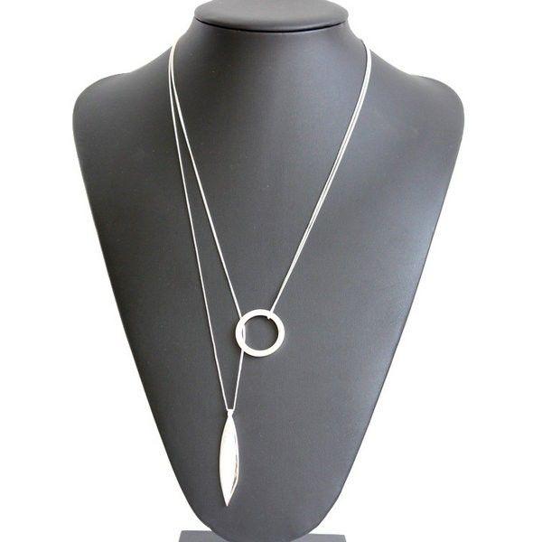Long Silver Leaf Necklace