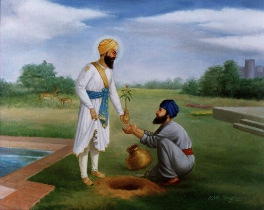 The seventh Guru- Guru Har Rai Sahebji planting a tree with one of his Sikhs.