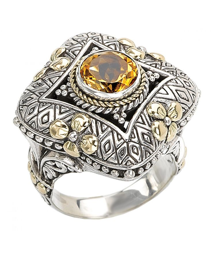 18K/ SILVER WITH CITRINE RING SIZE 8 - Eleganza - Designers