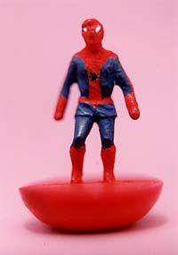 Shows a photograph of a Subbuteo Spiderman.