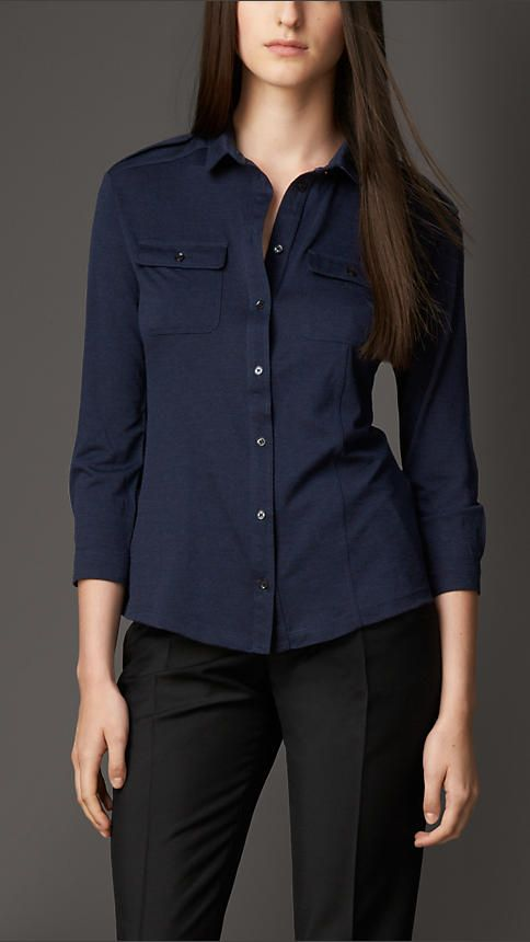 Wool Silk Military-Inspired Shirt | Burberry