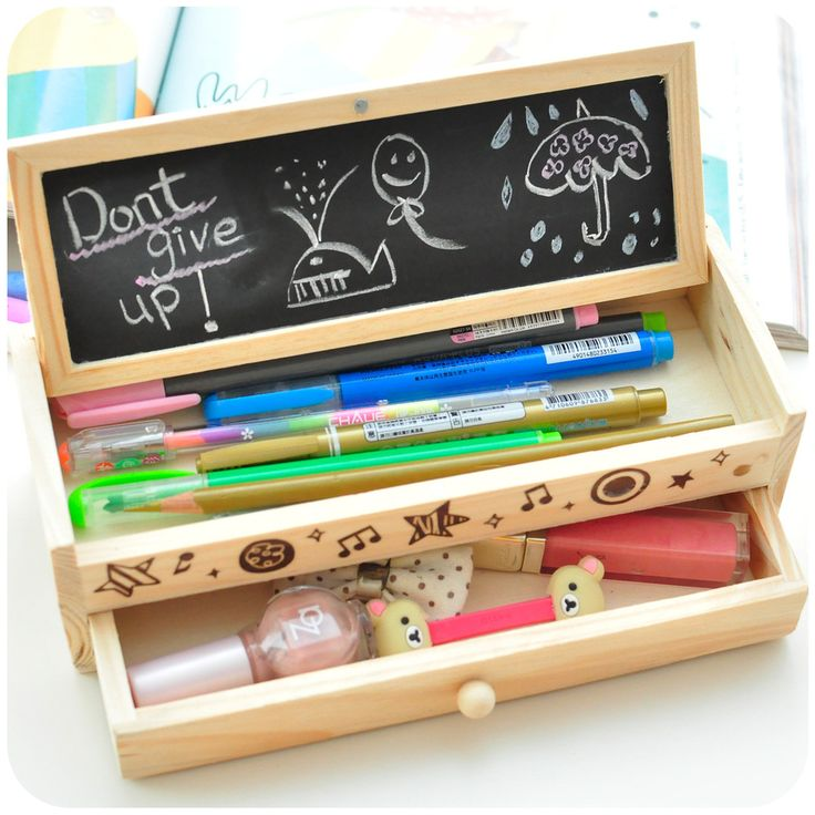 Love quietly lovely wooden pencil box large capacity drawer DIY creative stationery stationery Pencil Korea female #Affiliate