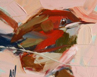 Carolina Wren no. 60 Art Print by Angela Moulton 4 x 4 inch