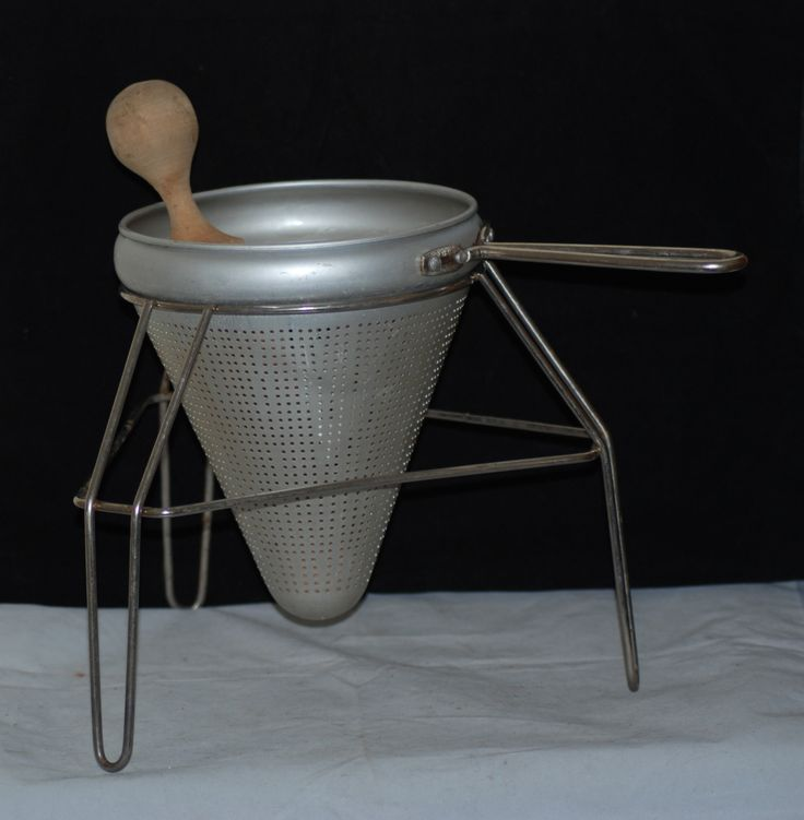 Vtg Aluminum Strainer Colander Wood Pestle Masher Canning