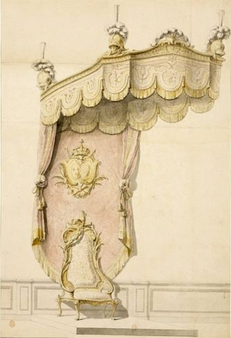 Throne with a damask (from Tours) canopy in the Apollon Salon 1752