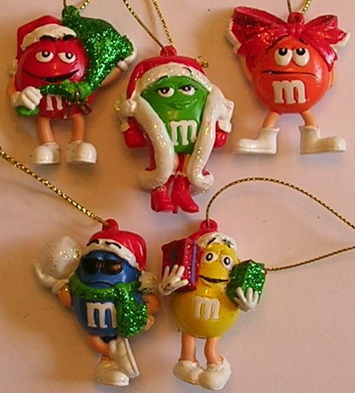 5 M&M's Candies Candy's Characters Ornaments 2008