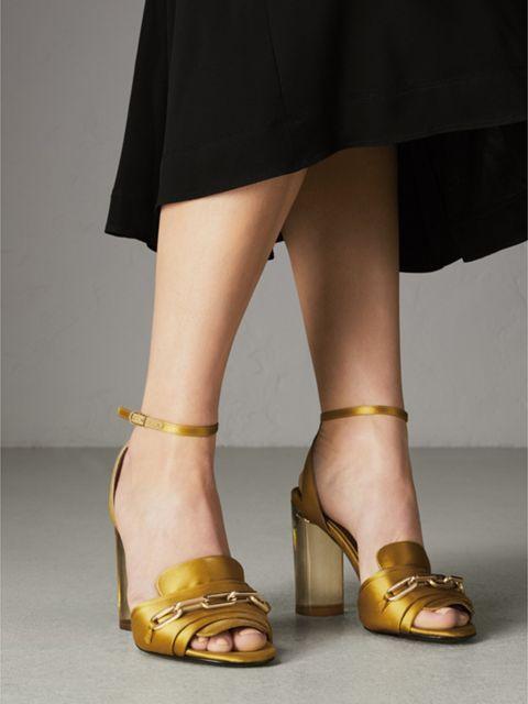 efb1616a840b Link Detail Perspex Heel Satin Sandals in Antique Yellow - Women