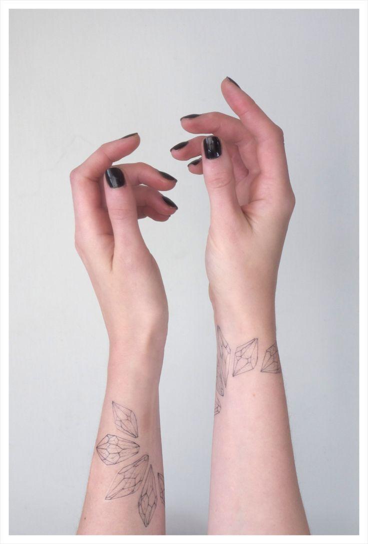 Beautiful crystal wrist tattoos