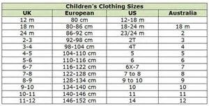 Image result for kids size equivalent charts abercrombie for kids