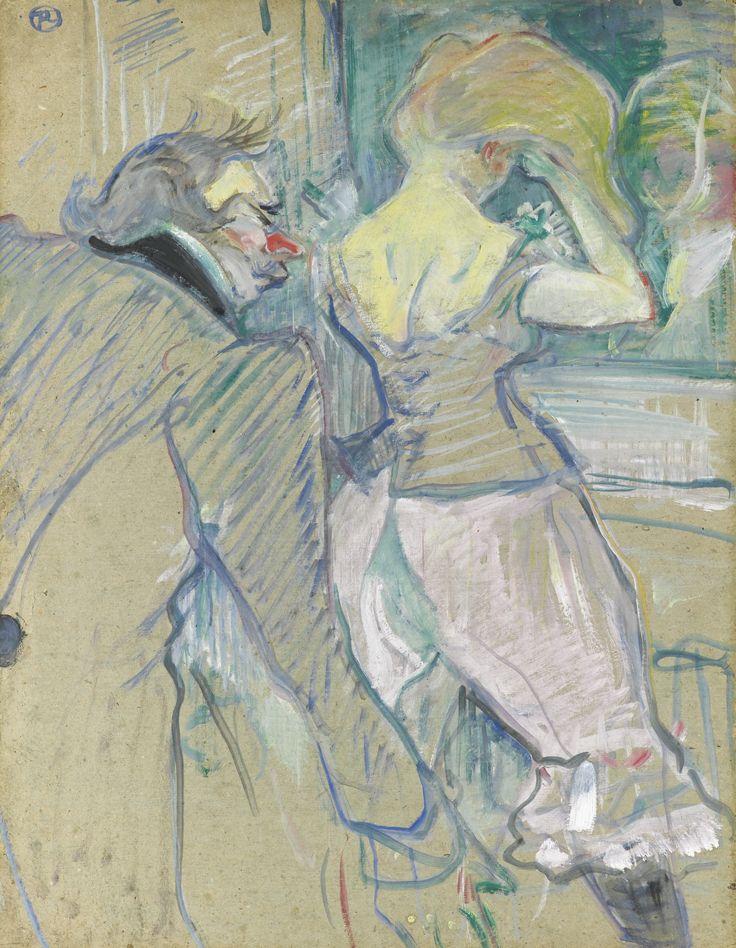 Henri de Toulouse-Lautrec 1864 - 1901 À ARMENONVILLE, EN CABINET PARTICULIER Signed with the monogram TL (upper left) Peinture à l'essence on board 26 3/8 by 20 1/2 in. 67 by 52.2 cm Painted in 1899:
