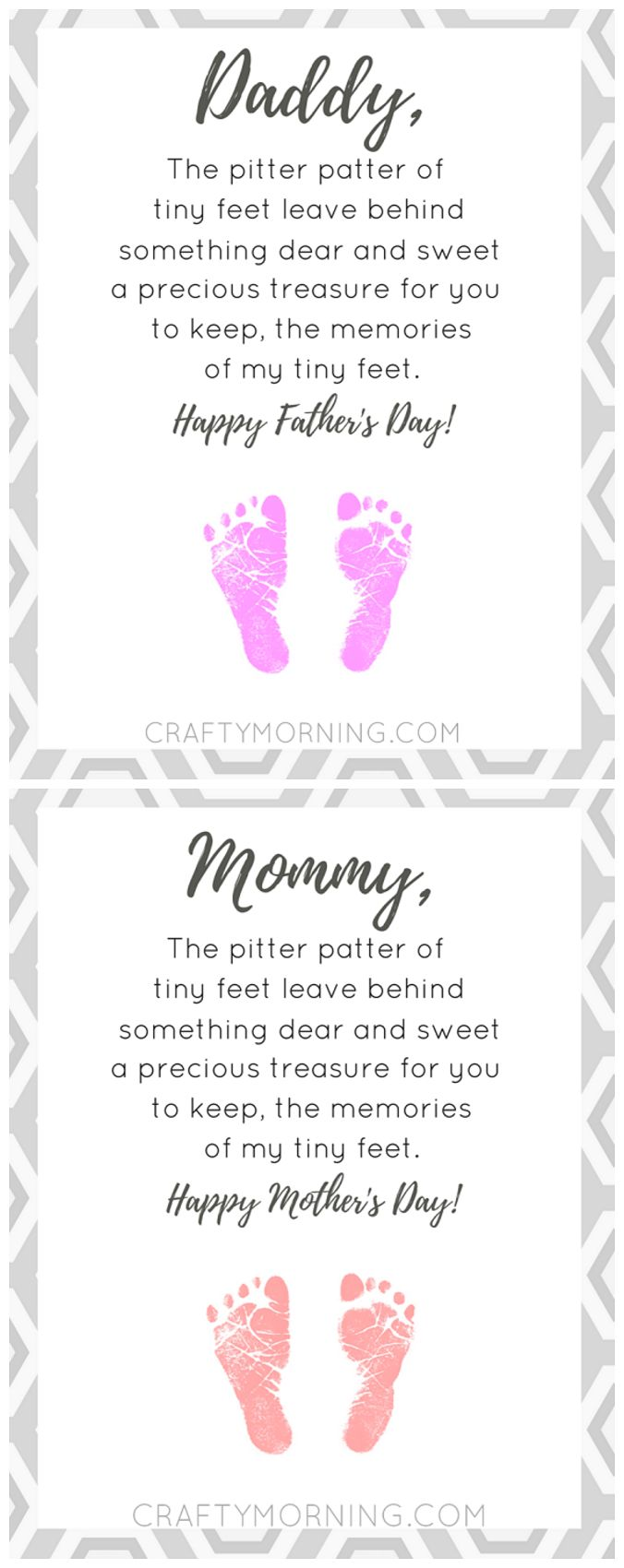 Free pitter patter of tiny feet poem printable for mom or dad (Mother's Day or Father's Day) so sweet for kids to make their footprints!