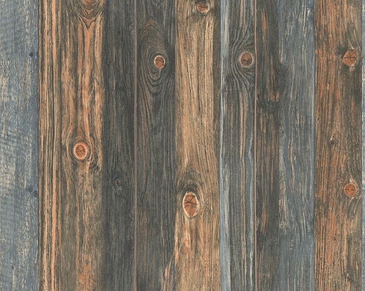 Nonwoven Scrap wood wallpaper Brown/Blue at Wallpaperwebstore