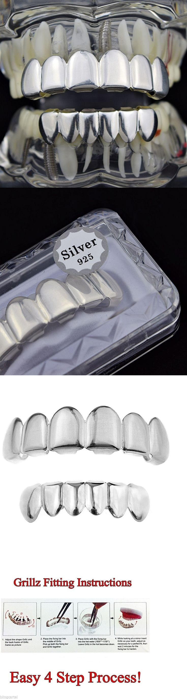 Grillz Dental Grills 152808: Real 925 Sterling Silver Grillz Set Plain Top And Bottom Teeth New Hip Hop Grills BUY IT NOW ONLY: $74.95