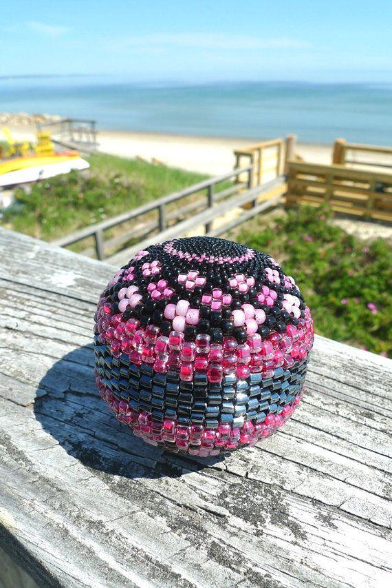 Handmade Beaded Ball Sphere Pink  Flower Garden by TheBeadedEgg
