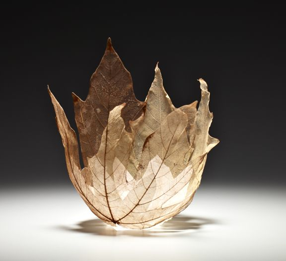 Fused Glass Leaf Bowl     Kay Sekimachi   (I'd like to see if this piece is as thin and delicate as it appears, and if so, how one would shape, form, and detail such a delicate vessel.)