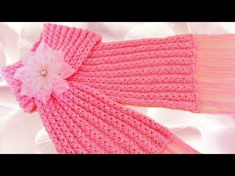 Como tejer una bufanda fácil y rápido en punto primavera - How to make scarf knitting - YouTube