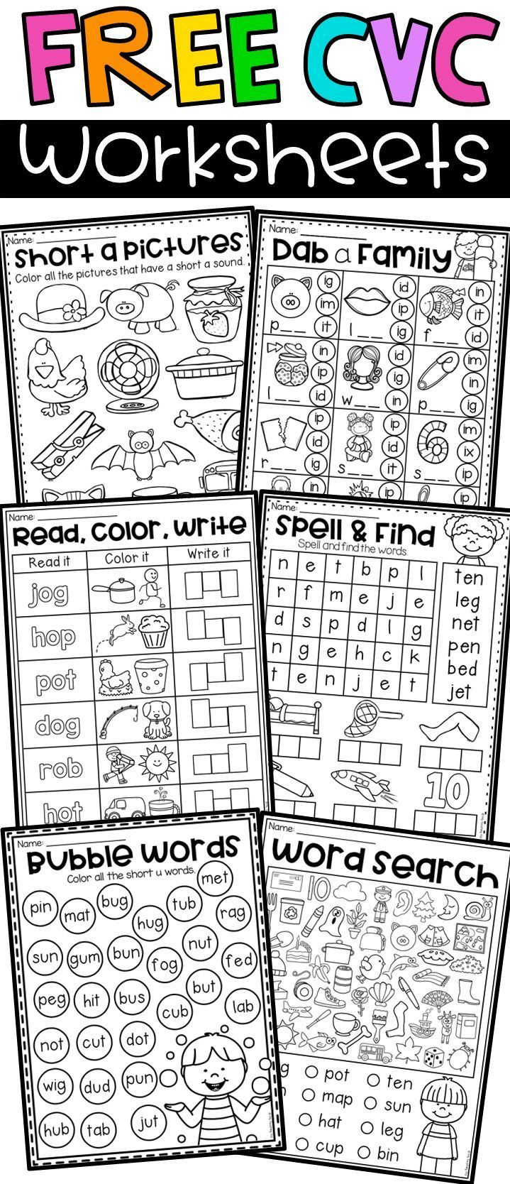 Free Short Vowel Cvc Worksheets Cvc Words Kindergarten Phonics Kindergarten Kindergarten Phonics Worksheets