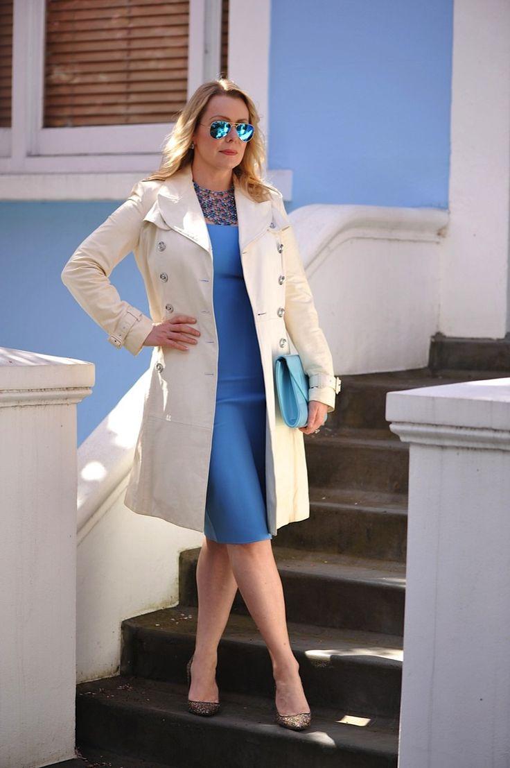 Sky blue dress and white coat