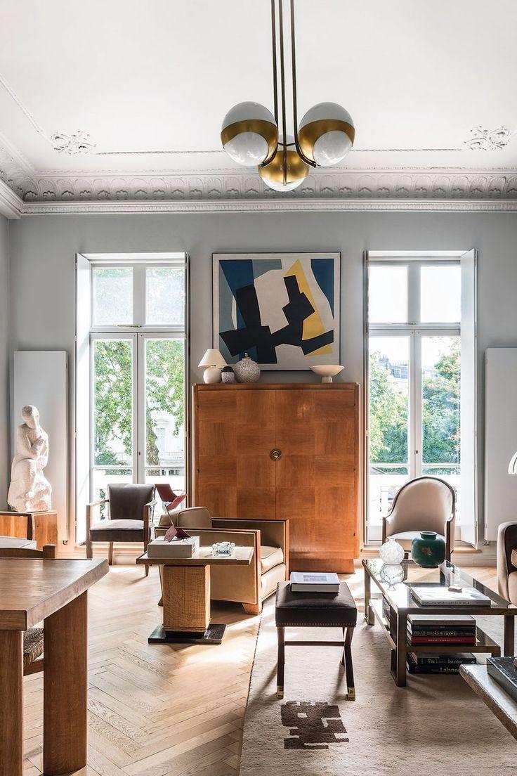 An Elegant Pimlico Flat Filled With Post War Art Sleek French Art Deco Furniture Interior Deco Art Deco Living Room Deco Furniture