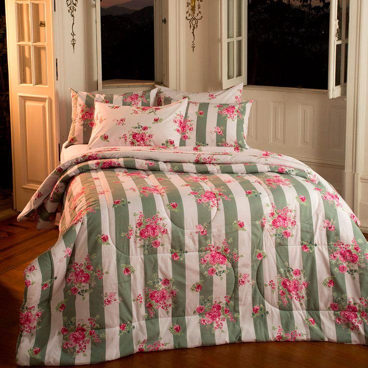 Enxoval Cama Queen Anne Verde 7 Peças - Casa & Conforto