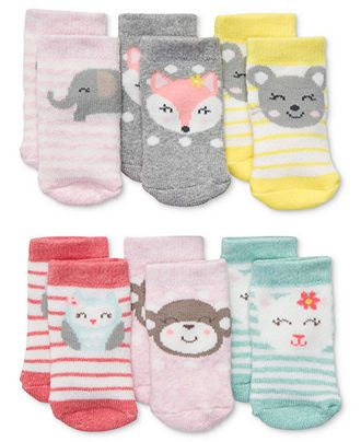 Carter's Baby Socks, Baby Girls 6-Pack Socks - Kids Baby Girl (0-24 months) - Macy's