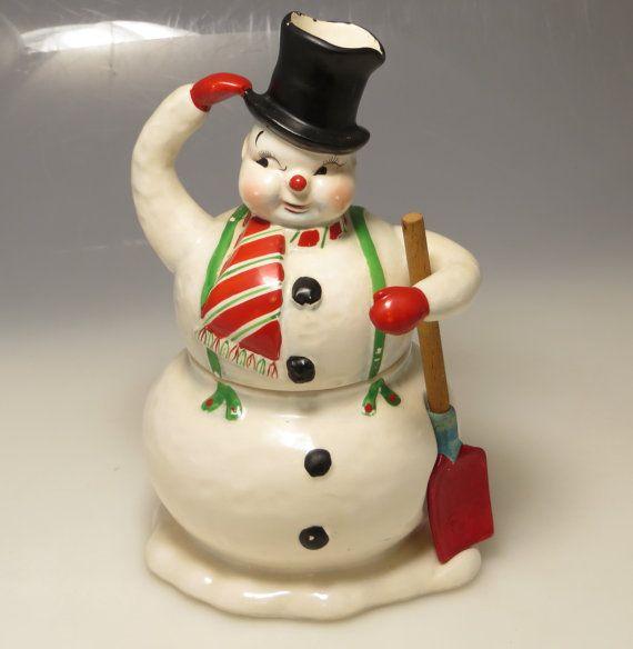 Vintage 1950s Holt Howard Napco Lefton Era Retro Rare Ceramic Christmas Holiday Snowman Figurine Stacking Cream And Sugar With Shovel Spoon
