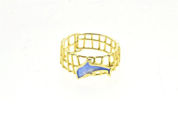 Dolphin Ring, Animal Ring, Dolphin Jewelry, Silver Beach Ring, Gold Plated Ring, Blue Enamel Ring, Fishnet with Dolphin, Summer Collection