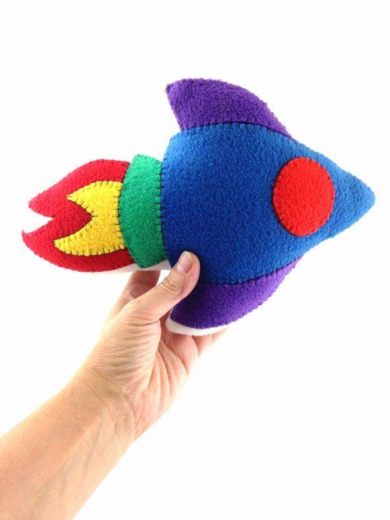 Pillow Space Rocket ,Soft spaceship, handmade kids room decor, perfect birthday present, baby shower or Nursery gift.