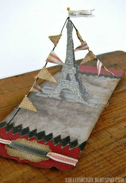 Eiffel Tower Pop-up Card extraordinaire! Love this make from Shelly featuring the Pop 'n Cuts Star insert and the Flagpole w/Banners Sizzlits Strip. Stamptramp: Bon Anniversaire + a Winner!