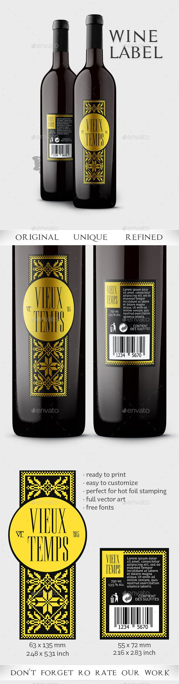 Vieux Temps Wine Label - Packaging Print Templates