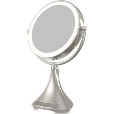"""Ihome 1X/7X Portable Double-Sided 9-Inch Vanity Mirror With Bluetooth Speaker Silver 9"""""""