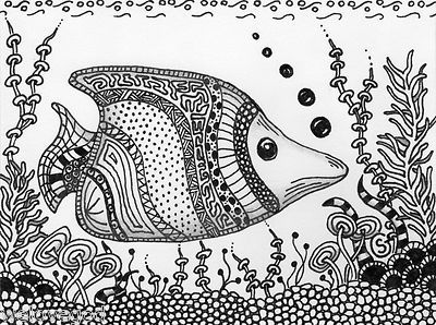Fish Aquarium ORIGINAL ART- SFA 4.5x6Fantasy Zentangle Black White Tank GoebenTanks Goeben, White Tanks, Zentangle Fish, Fish Aquariums, Black White, Aquariums Originals, Zentangle Black, Originals Art, 4 5X6Fantasi Zentangle