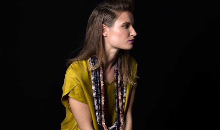Elk yellow top and chunky wooden necklace http://opusdesign.com.au/collections/fashion