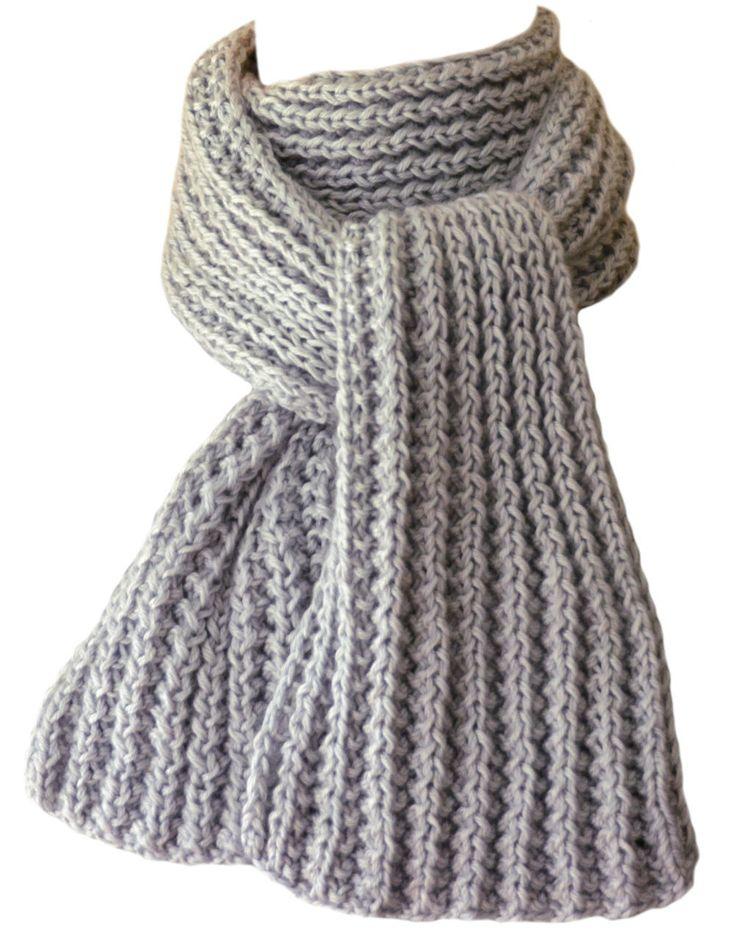 Hand Knit Scarf - Silver Grey Kitten Cashmere Silk Wind River Rib by StudioatRedTopRanch on Etsy