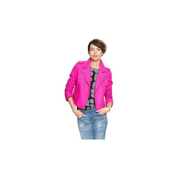 Gap Bright Wool Moto Jacket - vibrant fuchsia ($110) ❤ liked on Polyvore featuring outerwear, jackets, wool jacket, zip front jacket, pink wool jacket, tall motorcycle jacket and zipper jacket