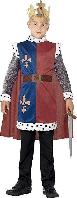 Smiffy's 44079M - Re Artù Medievale Costume Rosso con Tunica Cape & Crown, M