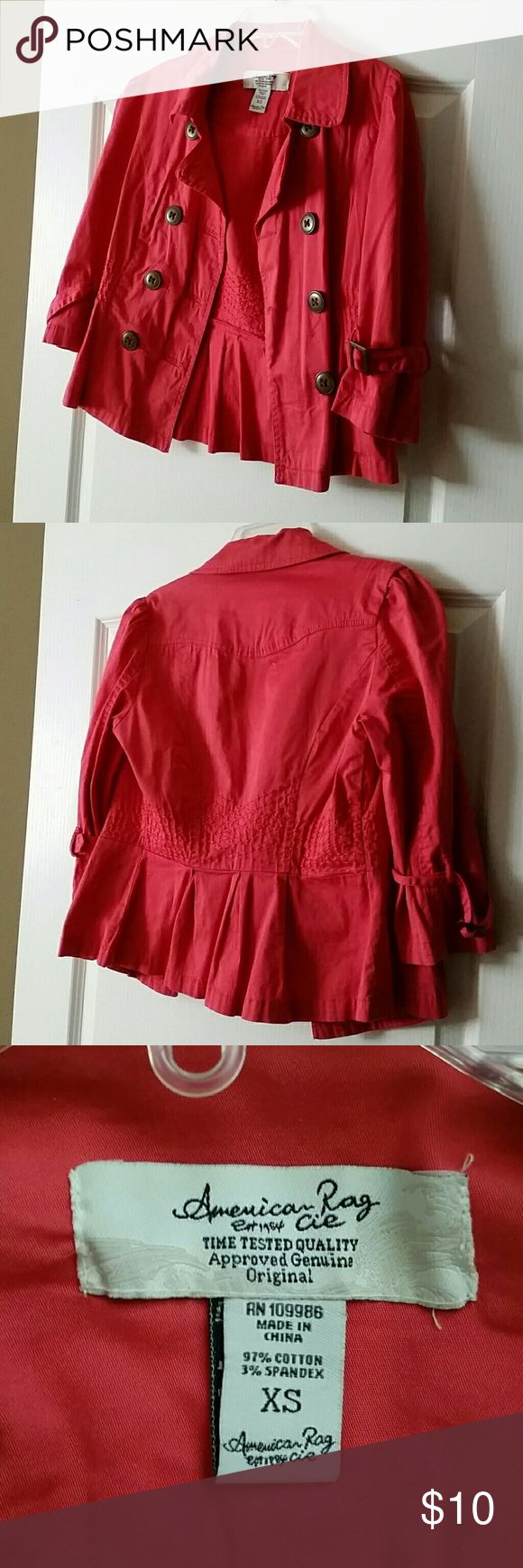 American Rag light jacket American Rag light jacket, great condition, cute details, more of a salmon color in person American Rag Jackets & Coats