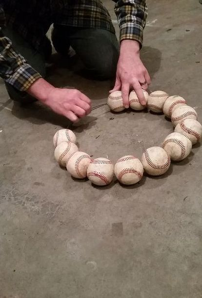 how to make a baseball wreath for your front door, crafts, how to, repurposing upcycling, wreaths