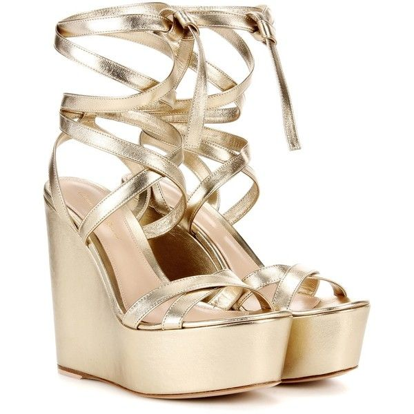 Gianvito Rossi Metallic Wedge Sandals ($930) ❤ liked on Polyvore featuring shoes, sandals, gold, gold shoes, metallic sandals, metallic gold sandals, metallic wedge shoes and wedge heel sandals