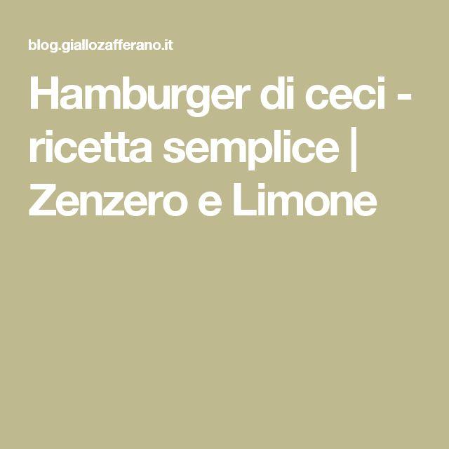 Hamburger di ceci - ricetta semplice | Zenzero e Limone